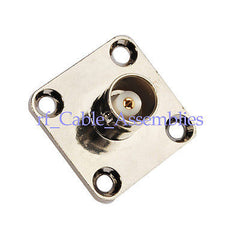 BNC female 4 Hole Panel Mount Jack with solder cup wide flange ST RF Connector