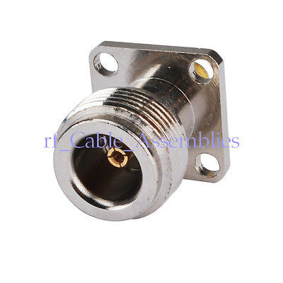 N Female Jack To Sma Female Goldplated 4 Hole Flange Mount