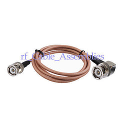 BNC male plug to BNC male right angle connector adapter pigtail cable RG400 1M