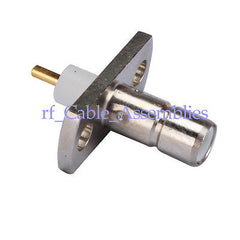 SMB 2 hole panel mount jack plug with short dielectric and solder,Stainless Steel
