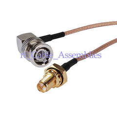 BNC male right angle to RP SMA female Bulkhead O-ring pigtail Cable RG316 wifi