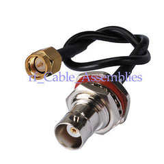 SMA male plug to BNC female jack pigtail cable RG174 15cm for wifi antenna