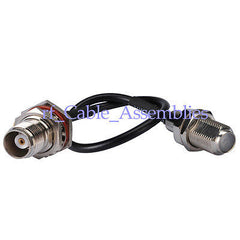 F-Type female Jack to TNC female bulkhead pigtail Coax Cable RG174 for Wireless