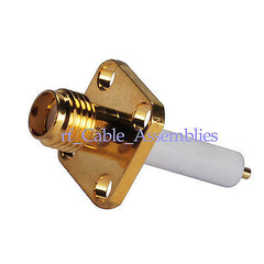SMA female 4-hole panel mount jack RF connector ST with long extended dielectric