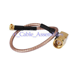 SMA plug male right angle to MMCX male plug RA pigtail coax cable RG316 wireless