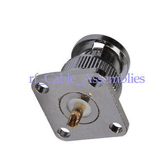 BNC male plug with 4 holes pane/Flange 17.5*17.5mm solder connector straight