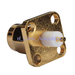 SMA male 4 hole panel Plug extended dielectric solder post RF Straight Connector
