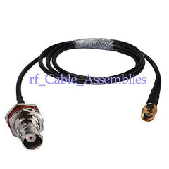Superbat BNC Jack Female Bulkhead To RP-SMA Male pigtail cable KSR195 1M 3FT For Wireless
