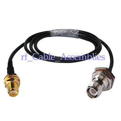 WLAN Antenna cable RP TNC jack female bulkhead to PR SMA female pigtail RG58