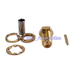RP-SMA Crimp Jack(male pin) bulkhead connector LMR100