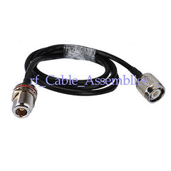 Superbat WLAN Coax Cable KSR195, N-Type female bulkhead O-ring to TNC male pigtail 50cm