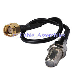 RP-SMA plug to F-Type Female Jack pigtail cable RG174 for wireless