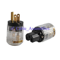 New Brass P-029 US Power Plug & C-029 IEC 125V 5A AC Copper, Metal, Plastic