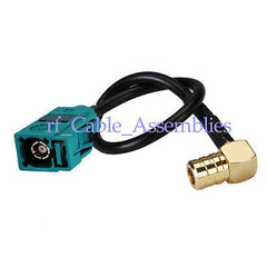 GPS SMB Female RA to Fakra Female Jack pigtail cable RG174 for Neutral Coding