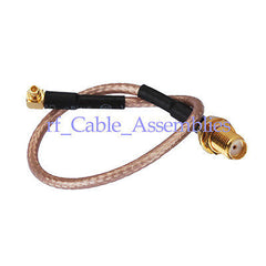 2x SMA female Jack to MMCX plug male right angle pigtail cable RG316 for wieless