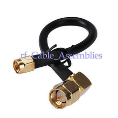 Wireless LAN(Wlan) Coax Cable SMA male right angle to SMA plug Pigtail KSR195 1M