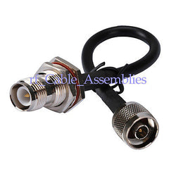 N male plug to RP-TNC female bulkhead O-ring straight pigtail cable RG58 wifi