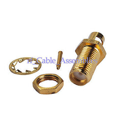 RP-SMA Solder Jack(male pin) bulkhead connector for.141