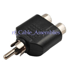 10x RCA AV Audio Y Splitter Plug Adapter 1 Male to Double Female Adapter NEW