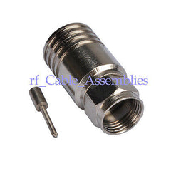 15pcs F-Type plug Crimp male for RG11 cable straight RF connector 75 Ohm