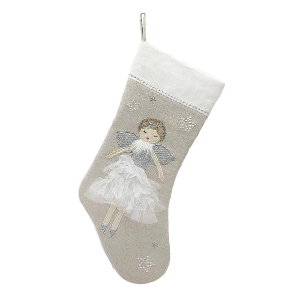 SILVER ANGEL CHRISTMAS STOCKING