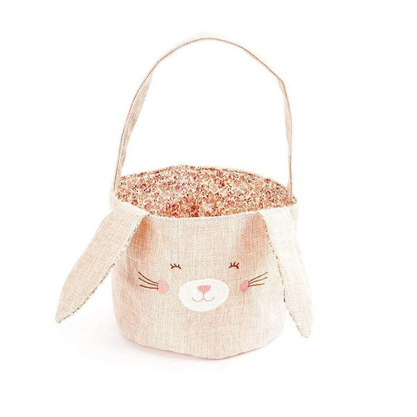 PINK LINEN BUNNY BASKET - SMALL