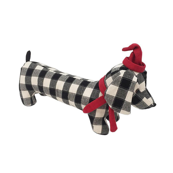 Mon Ami Black & White Weighted Dog Door Stop, 18 in
