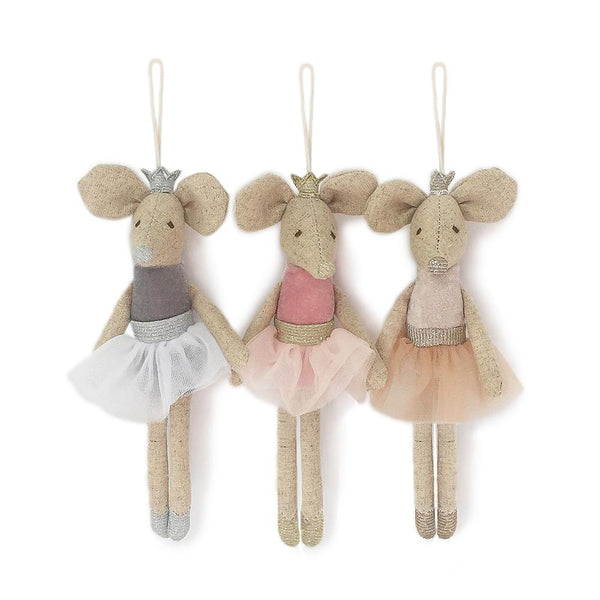 ASSORTED BALLERINA MICE PLUSH DOLL ORNAMENTS