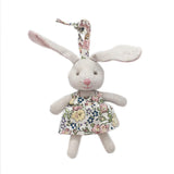TINY BUNNY IN FLORAL DRESS DECOR ORNAMENT