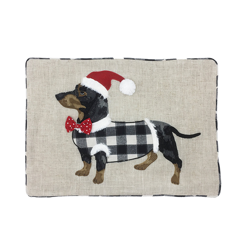 Black and White Buffalo Check Dog Christmas Pillow Cover