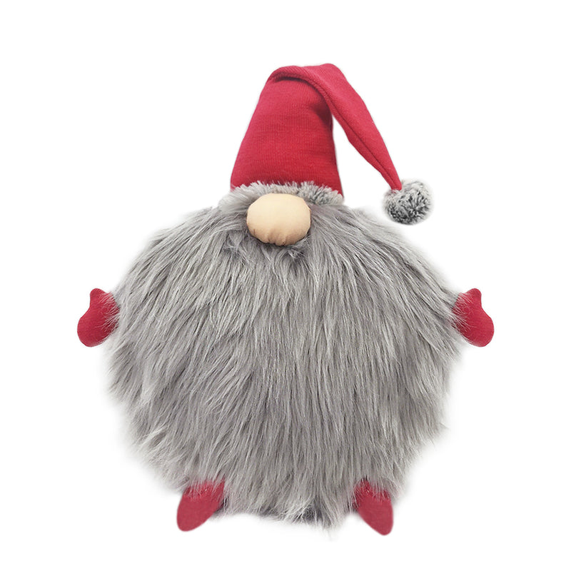 RED GNOME FUR ACCENT PILLOW