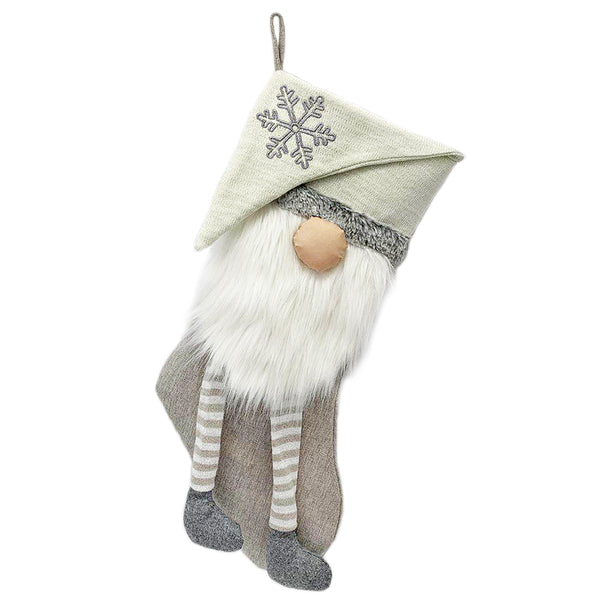 SILVER GNOME CHRISTMAS STOCKING