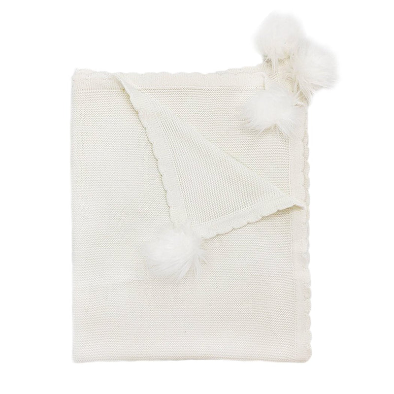WHITE POM POM COTTON KNIT BABY BLANKET