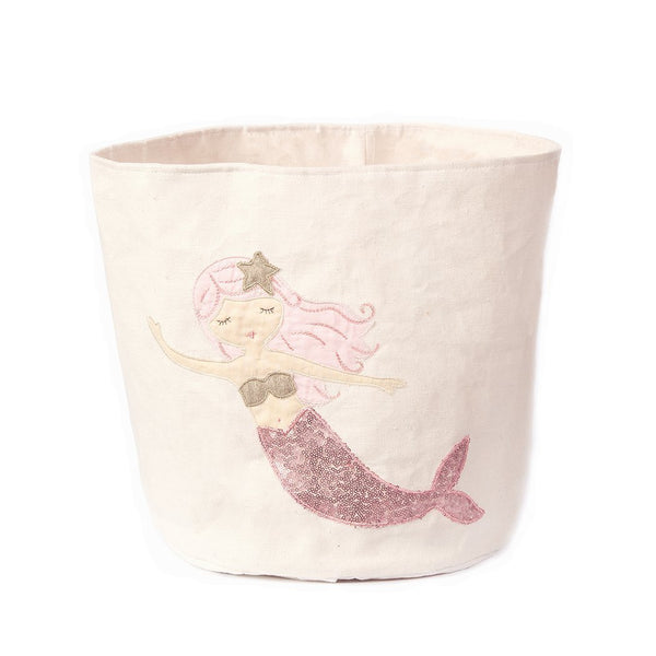 SEQUIN MERMAID LARGE CANVAS STORAGE BIN