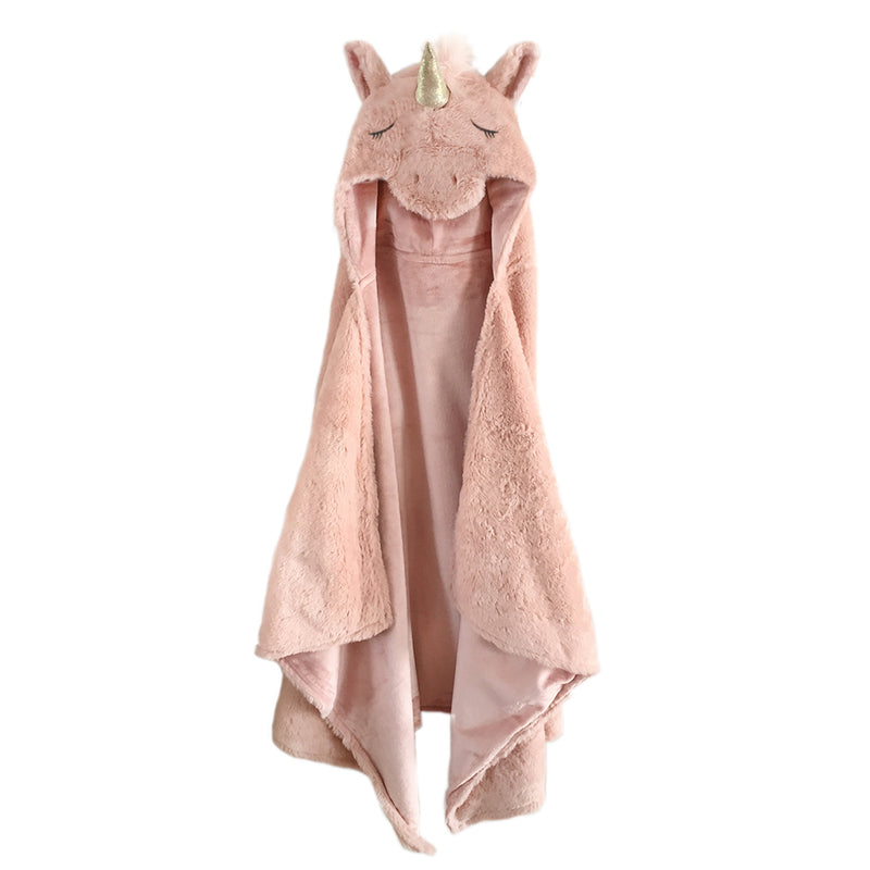 Plush Pink Unicorn Hooded Blanket