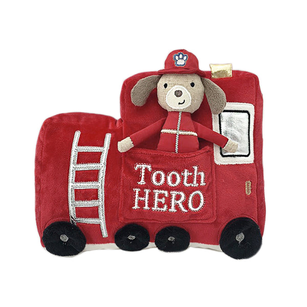 FIRE TRUCK TOOTH HERO DOLL AND PILLOW SET