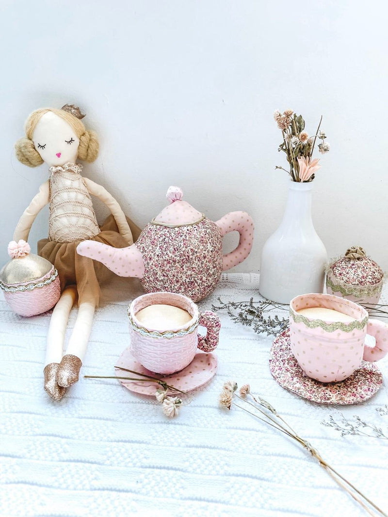 FLORAL STUFFED TOY TEA SET