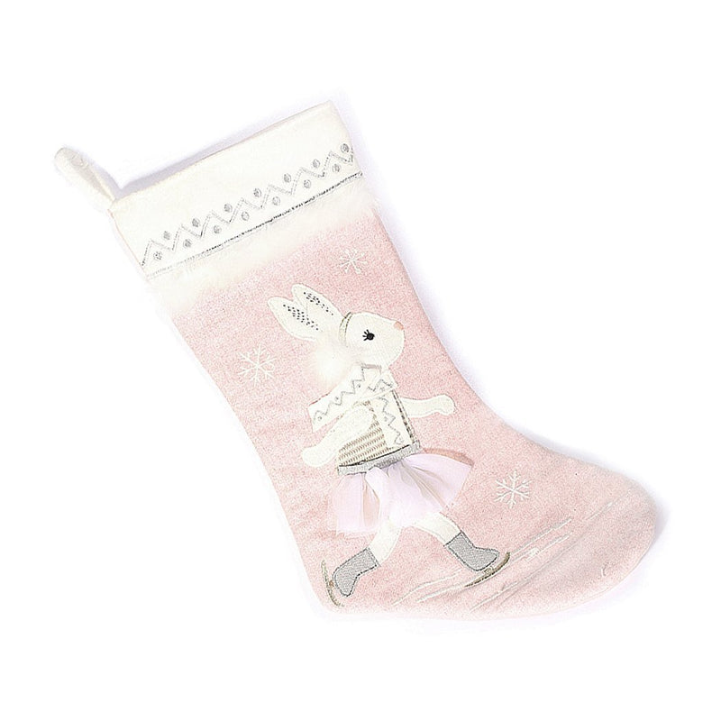 SKATING BUNNY CHRISTMAS STOCKING