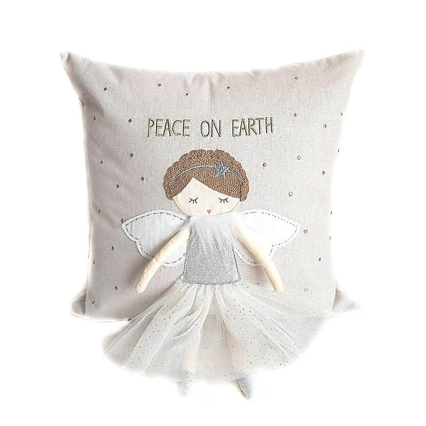 "WHIMSICAL ANGEL 'PEACE ON EARTH' DECORATIVE PILLOW 16"" X 16"""