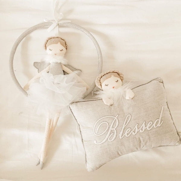 SILVER ANGEL 'BLESSED' ACCENT PILLOW