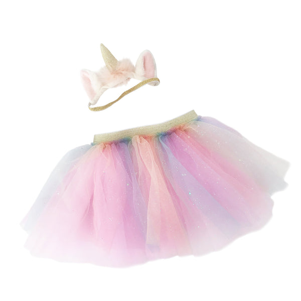 RAINBOW TUTU & UNICORN HEADBAND SET