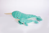 NARWHAL COTTON KNIT BABY RATTLE 'NEV'
