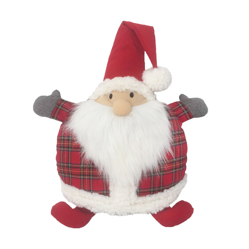 TARTAN SANTA ROUND ACCENT PILLOW