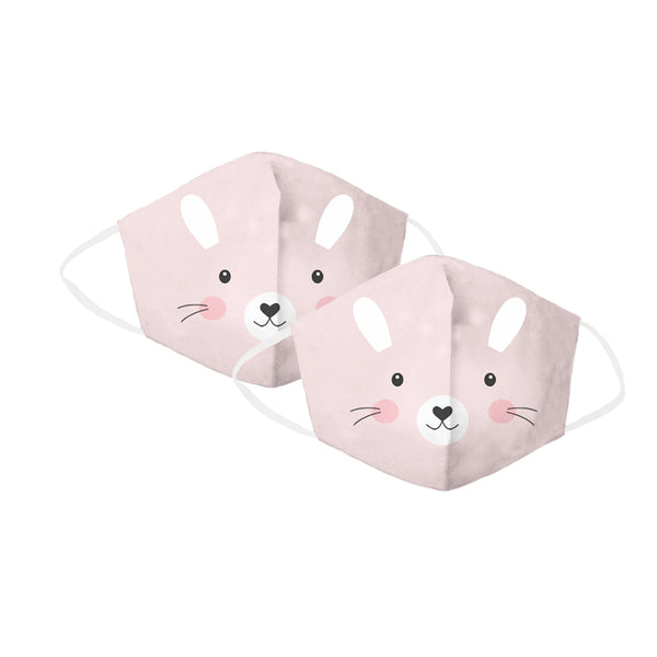 Pink Bunny Children's Face Cover 2 Pack Set