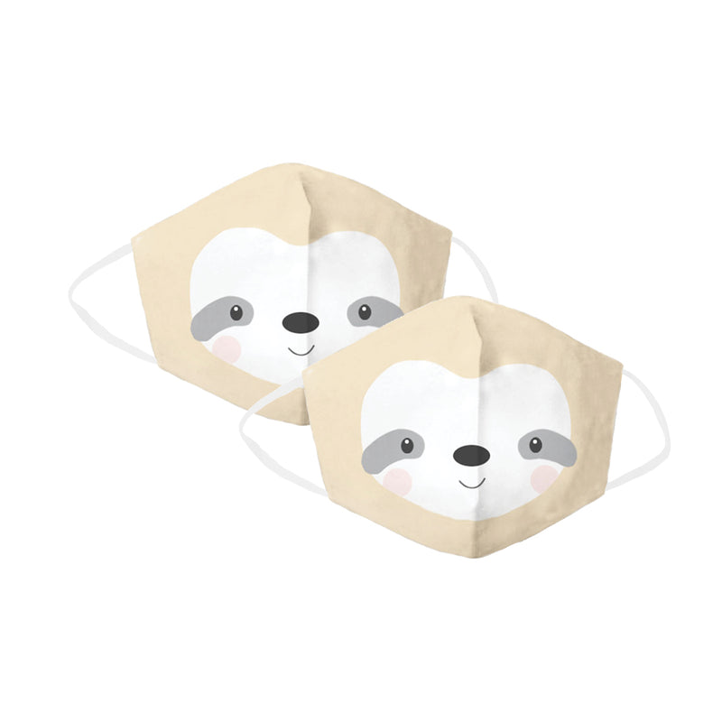 Tan Sloth Children's Face Cover 2 Pack Set