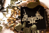laser-cut necklace, wooden necklace