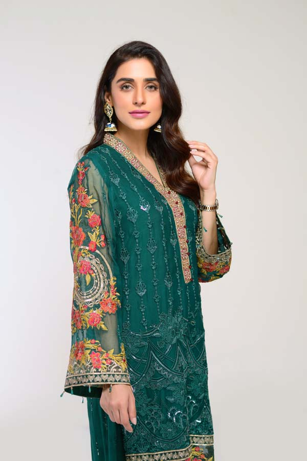Pine Green  -  Embroidered Chiffon 2 Piece (Unstitch)