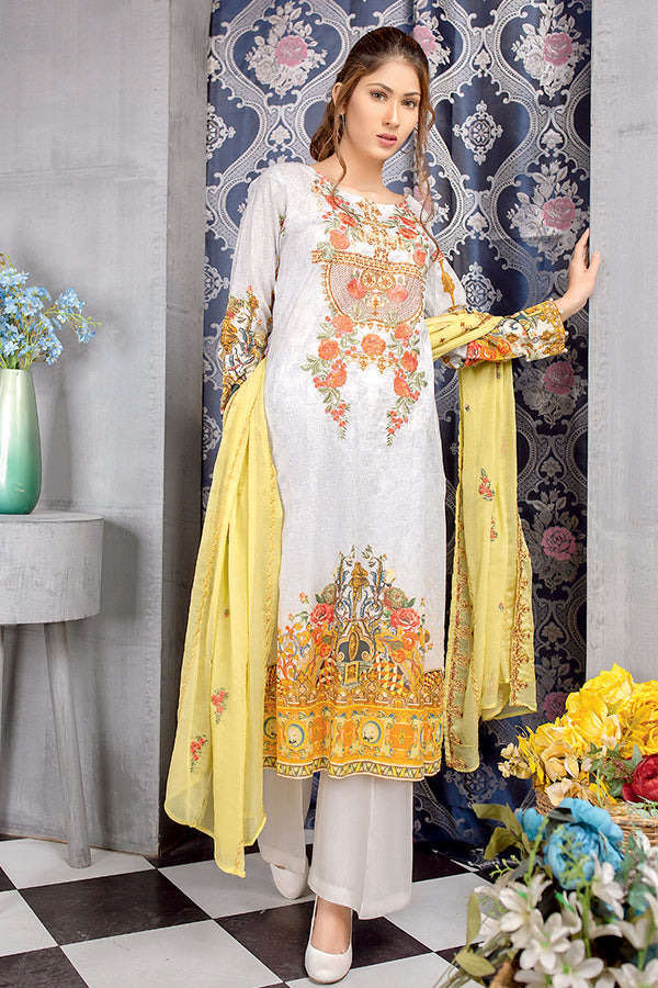 Light Grey - Digital Printed Embroidered Lawn With Chiffon Dupatta