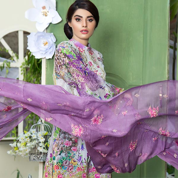 LIGHT PURPLE - DIGITAL PRINTED & EMBROIDERED LAWN - 3 PIECE