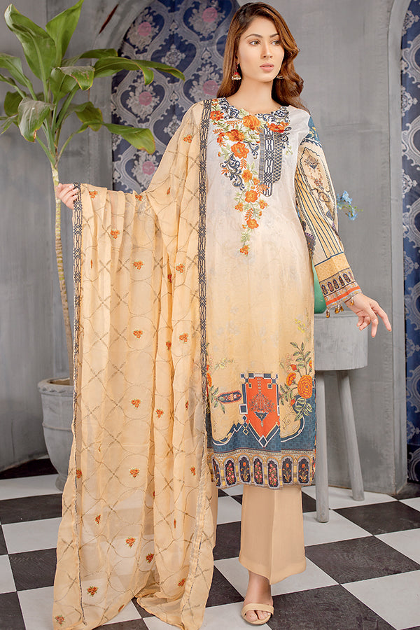 Light Brown - Digital Printed Embroidered Lawn With Chiffon Dupatta